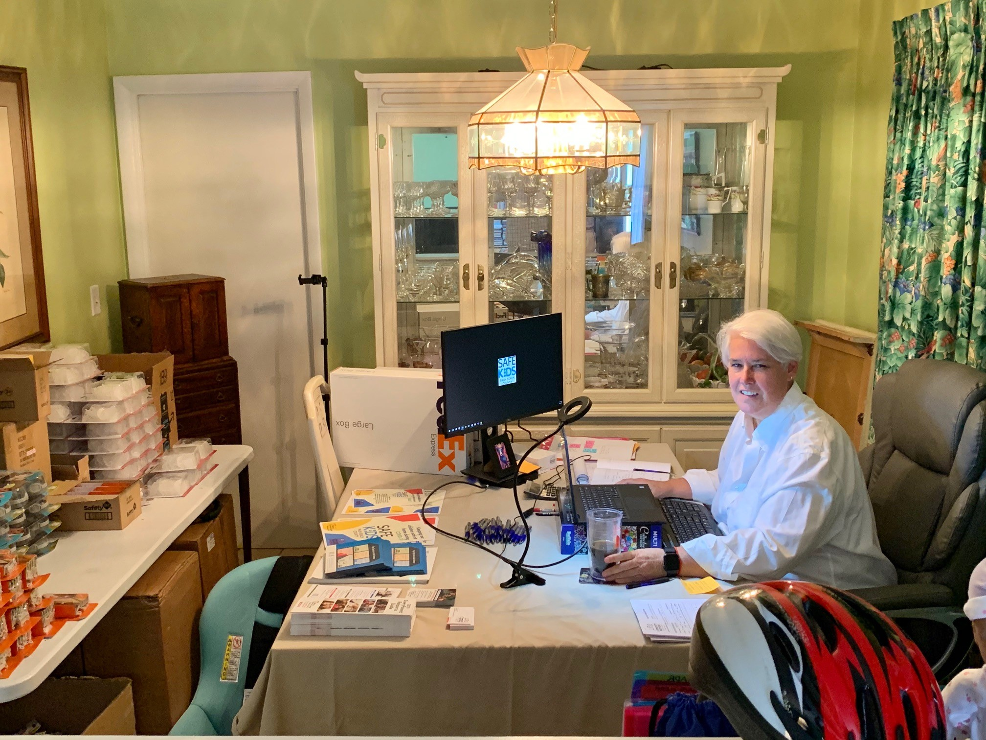Kathy Wall at desk in home