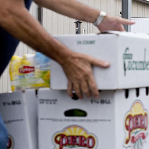 Man stacks boxes of fresh produce outside The Palm Beach County Food Bank